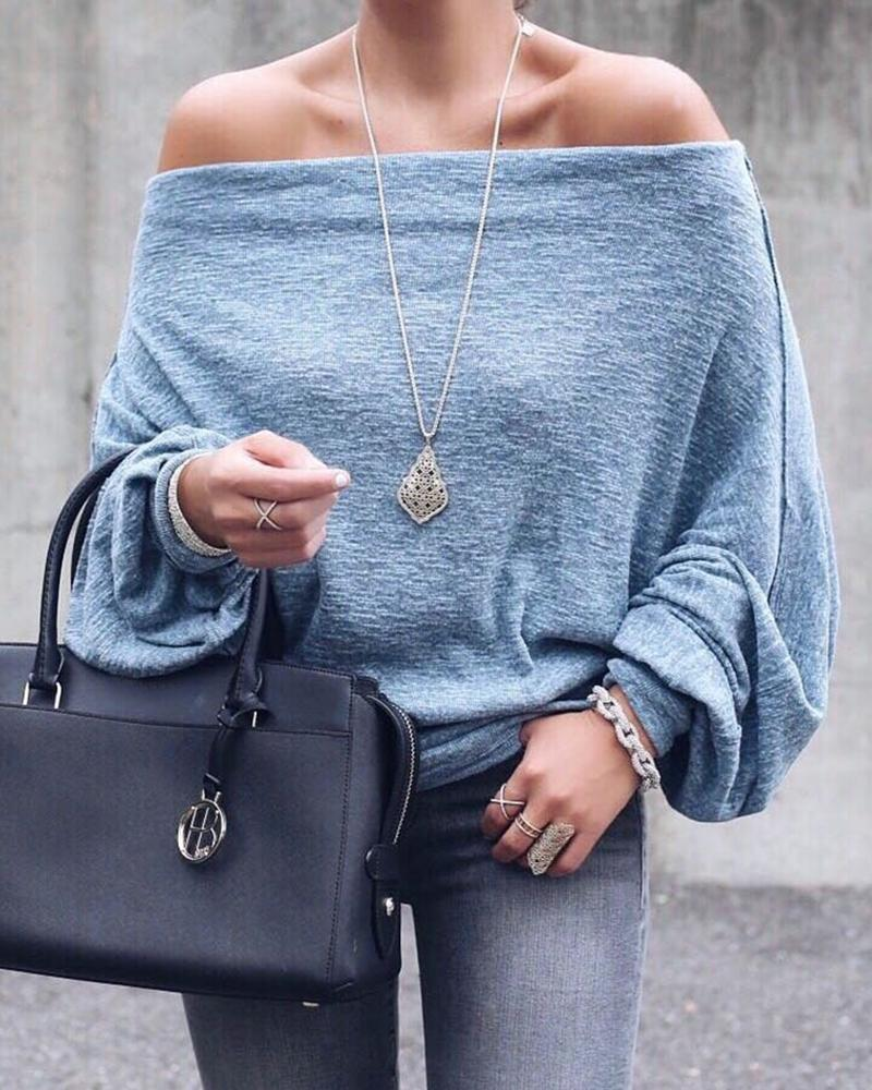 Solid Off Shoulder Lantern Sleeve Blouse