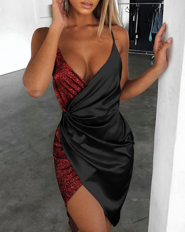 Spaghetti Strap Sequin Surplice Wrap Dress
