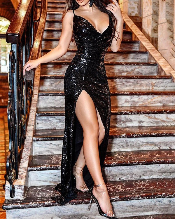 Spaghetti Strap V-Neck Sequins Slit Wrap Dress