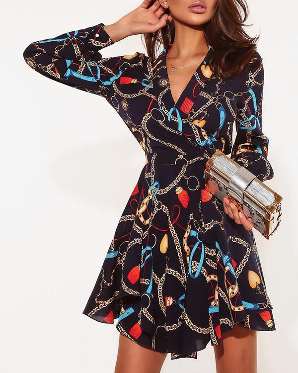 Chains Print Wrap Front Long Sleeve Casual Dress