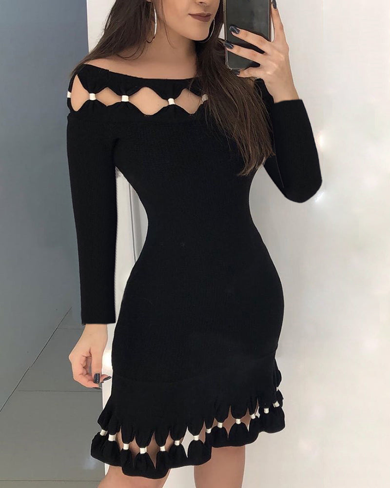 Long Sleeve Hollow Out Detail Bodycon Dress
