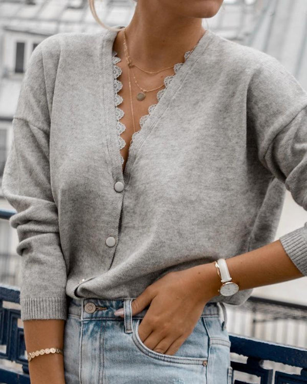 Scalloped Button-Up Long Sleeve Top