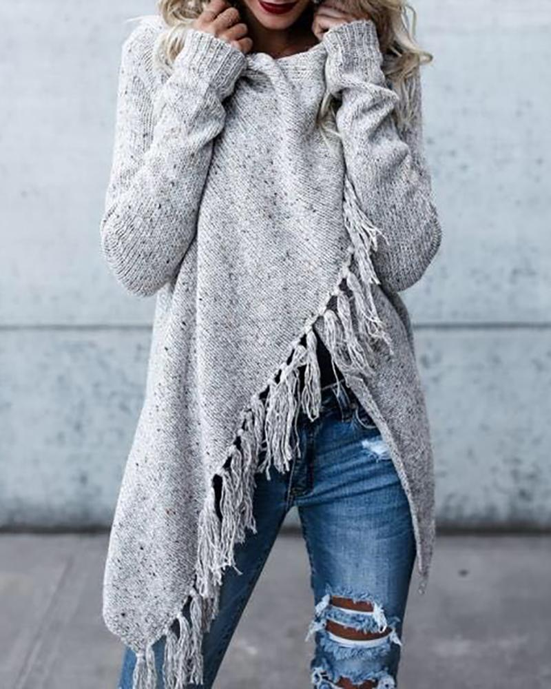 Cowl Neck Fringed Irregular Hem Knitting Sweater