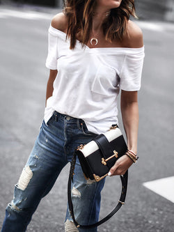 Solid Off Shoulder Pocket Design Casual T-shirt