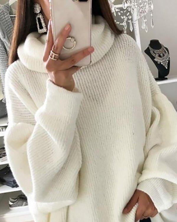 Solid High Neck Long Sleeve Ribbed Sweater