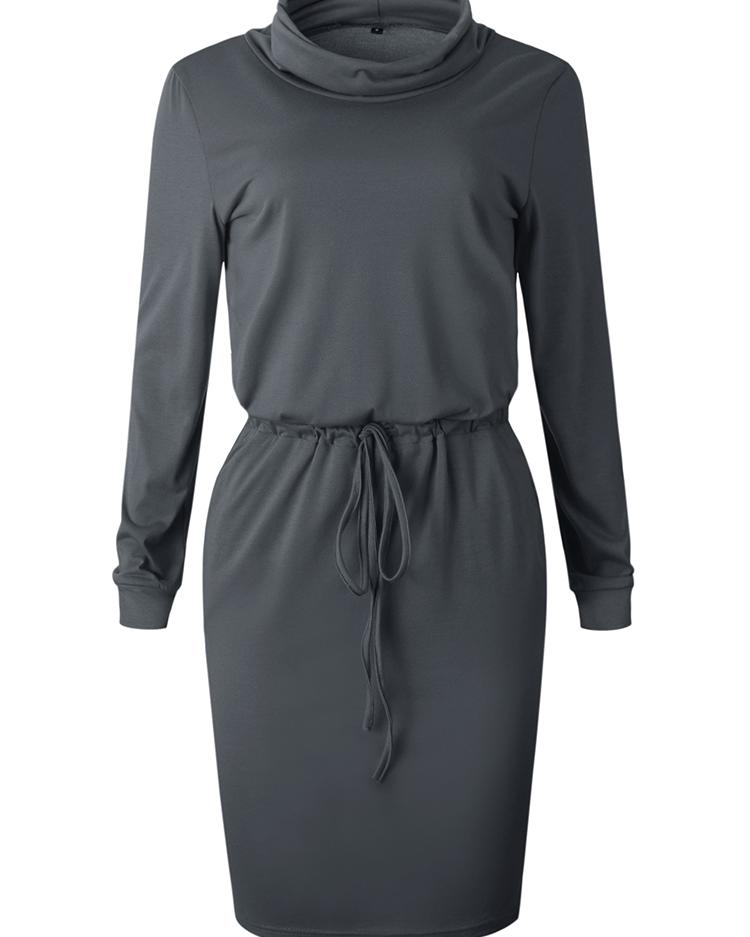 Cowl Neck Drawstring Sweatshirt Dress