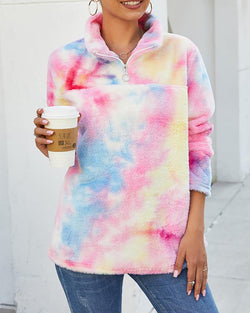 Tie Dye Zipper Fluffy Casual Sweatshirt