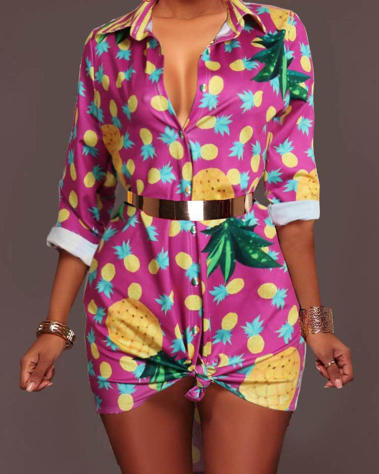 Multicolor Print Casual Shirt Dress