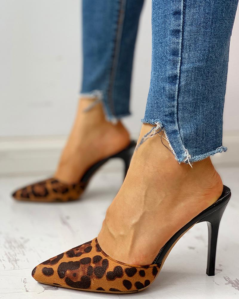 Pointed Toe Leopard Slingback Thin Heeled Sandals