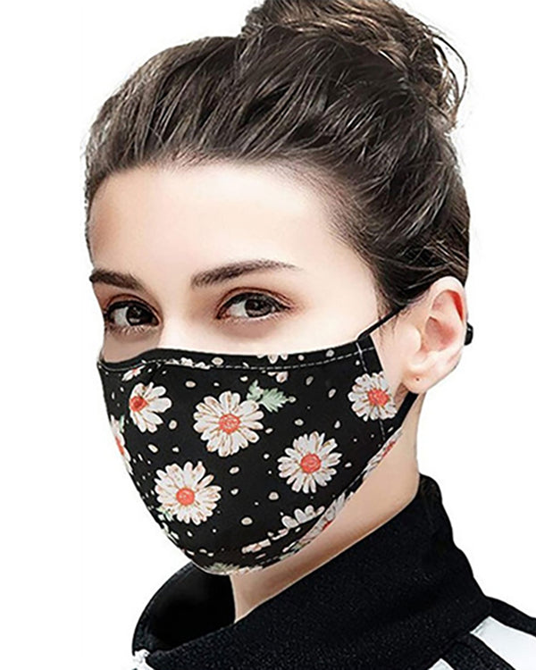 Daisy / Floral / Retro Print Ear Loop Breathable Mouth Mask With 4 Filters