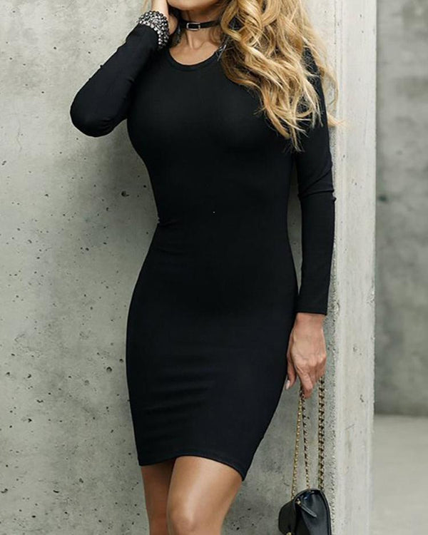 Trendy Lace Up Back Long Sleeve Bodycon Mini Dress