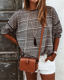 Abstract Print Round Neck Casual Sweater