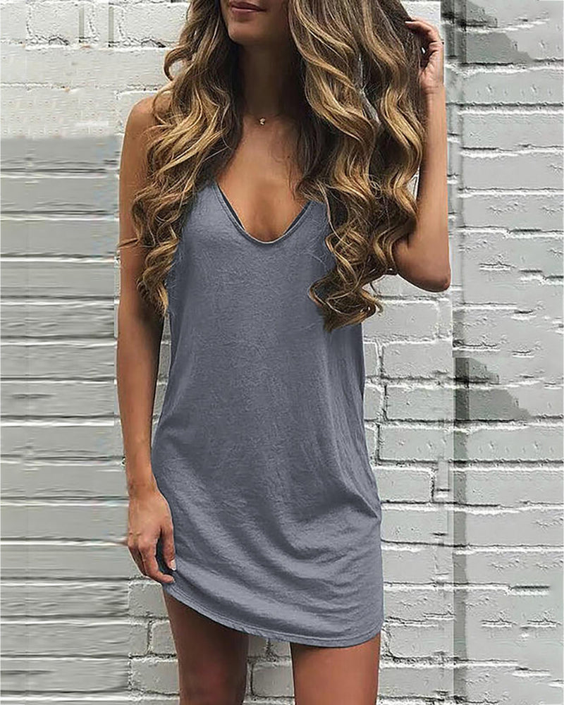 V-neck Solid Casual Dress