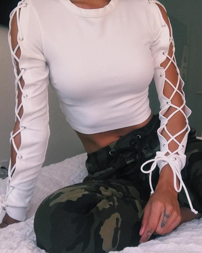 Solid Eyelet Lace-up Sleeve Crop Top