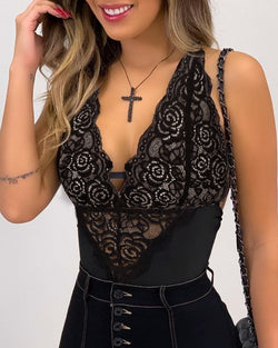 Mesh Plunge Crochet  Lace Sleeveless Bodysuit