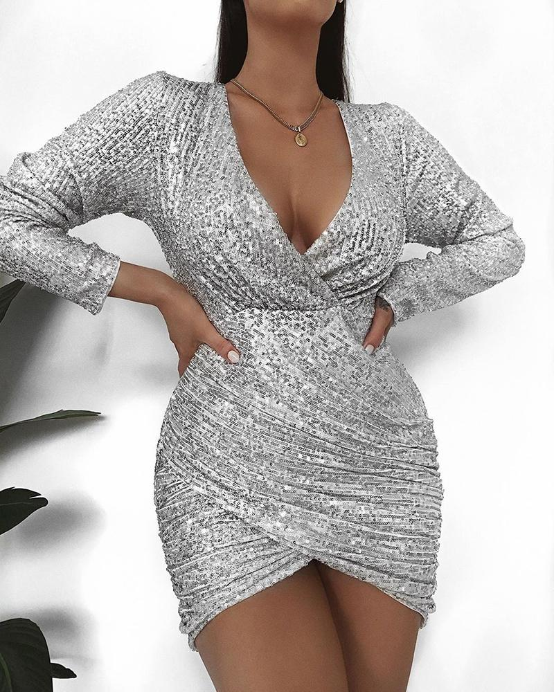 Sequins Long Sleeve Ruched Bodycon Dress