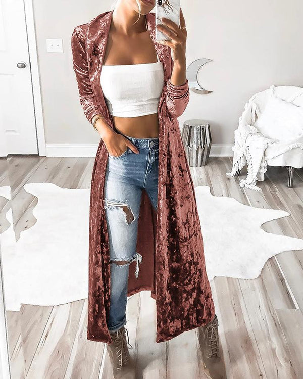 Solid Color Velvet Long Cardigan Coat
