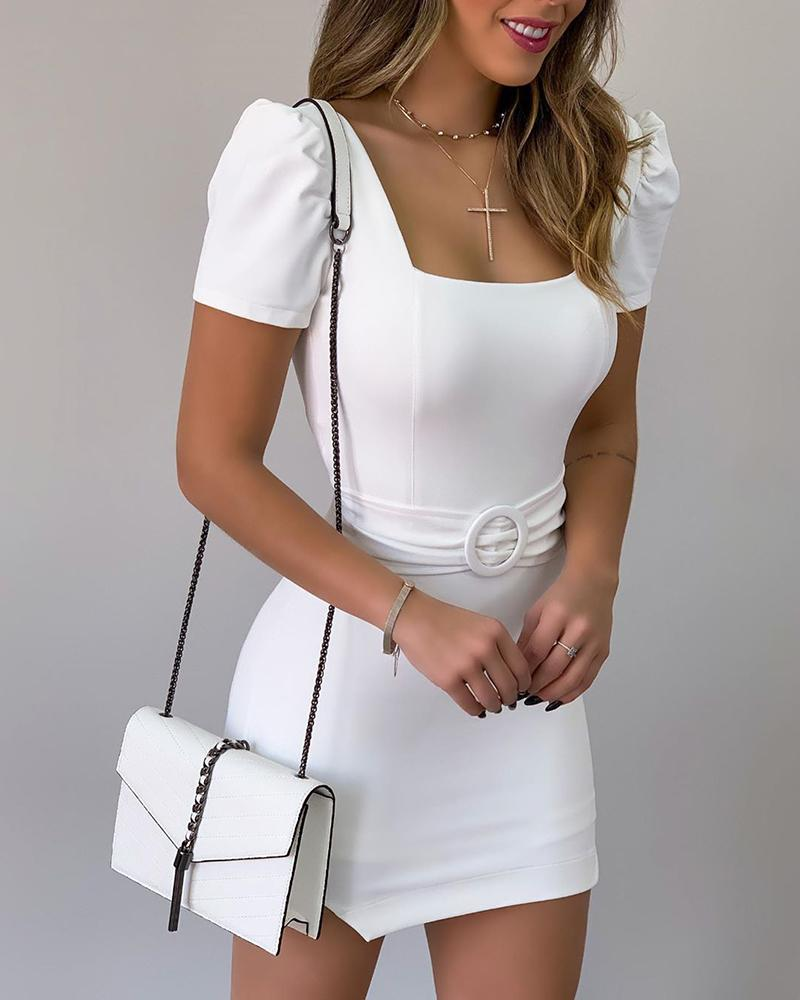 Square Neck Bodycon Mini Dress