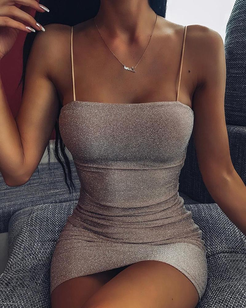 Glitter Spaghetti Strap Bodycon Dress