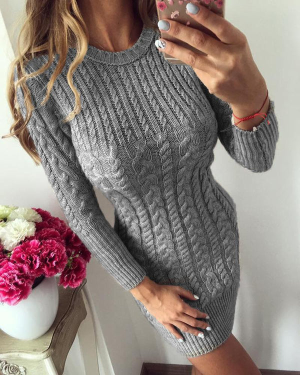 Solid Long Sleeve Casual Sweater Dress