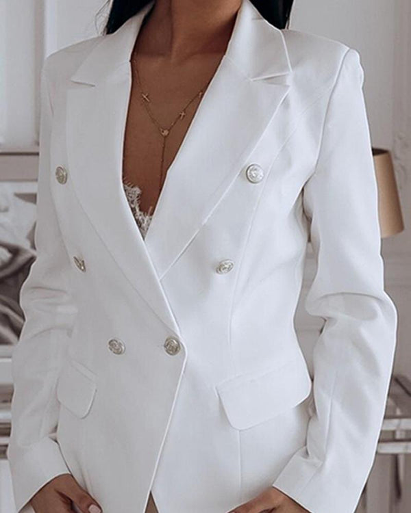 Long Sleeve Two-Button Blazer