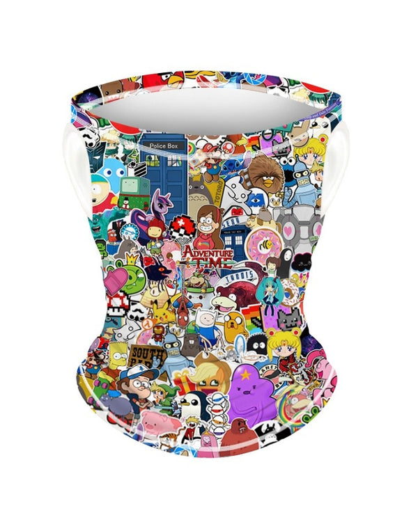 Cartoon Print Breathable Ear Loop Face Bandana Headwrap For Children