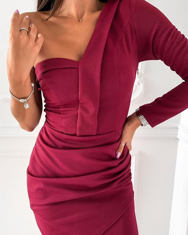 One Shoulder Asymmetrical Ribbed Mini Dress