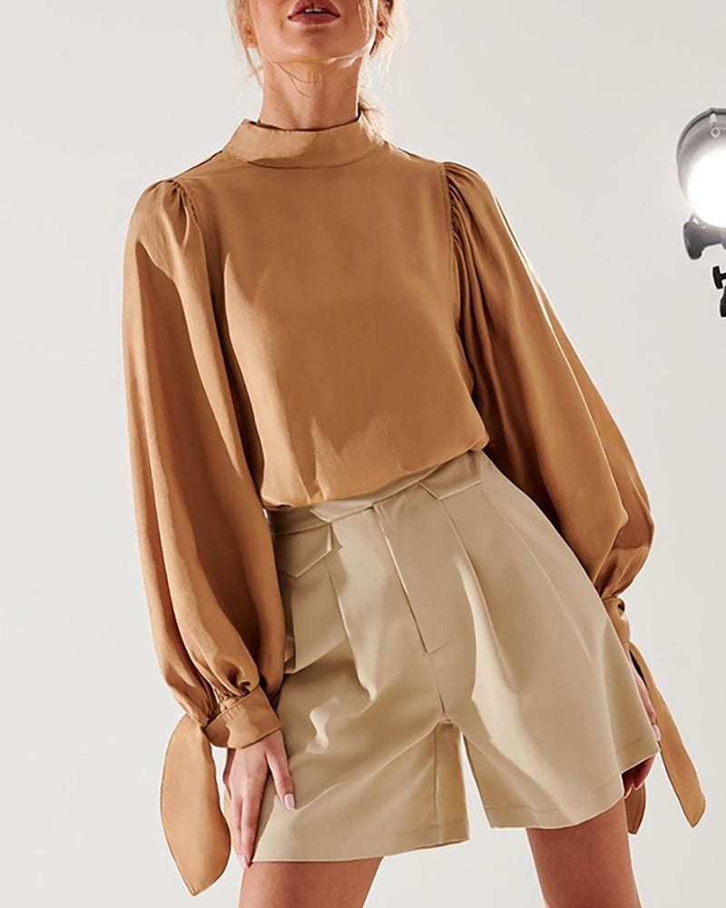 Solid Mock Neck Tied Lantern Sleeve Blouse