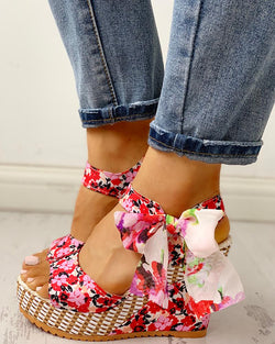Floral Bowknot Design Platform Wedge Sandals