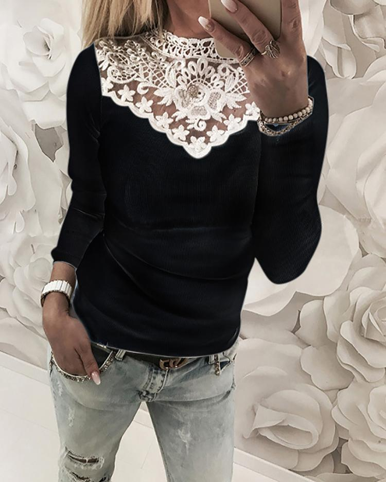 Appliqued Patchwork Casual T-Shirt