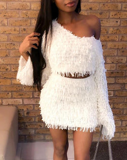 Skew Neck Fringed Crop Top & Skirt Sets