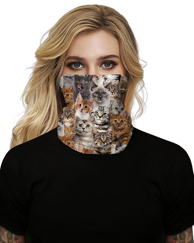 Cat Print Breathable Face Bandana Magic Scarf Headwrap Balaclava