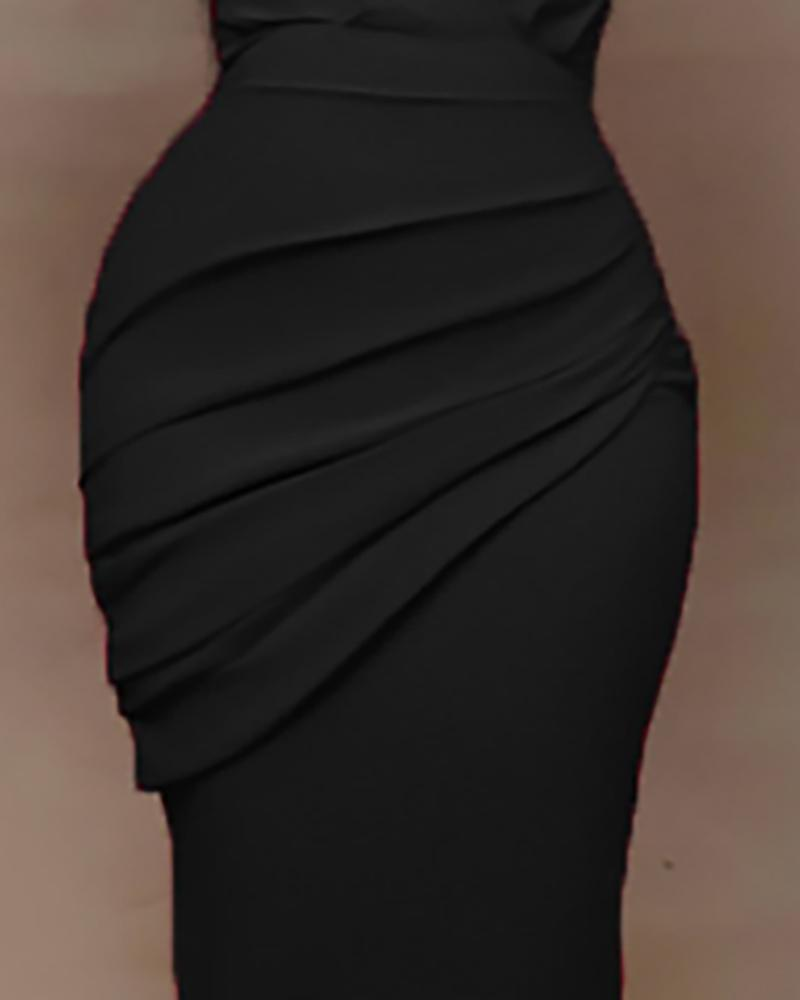 Solid Plunge Ruched Work Dress