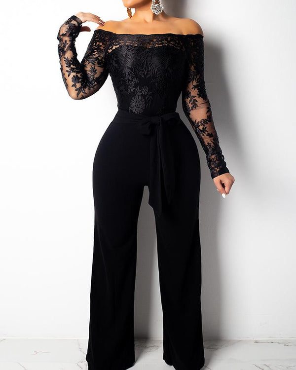 Wide Leg Lace Bodice Belted Jumpsuits