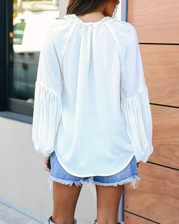 Solid Long Sleeve Drawstring Blouse