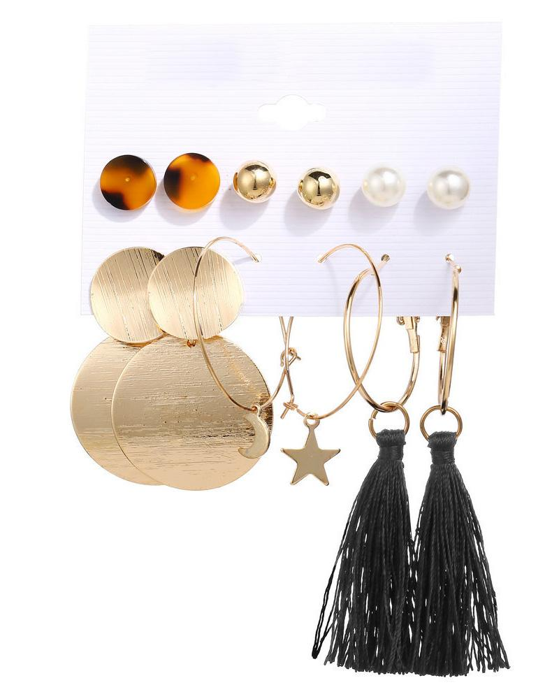 6 Pairs Beaded Hoop Tassel Ear Cuff Earring Set