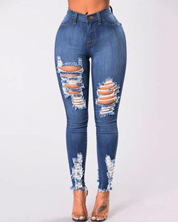 Fashion High Waist Ripped Skinny Jeans