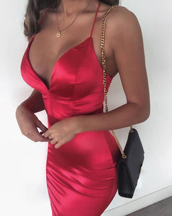 Spaghetti Strap Solid Party Dress