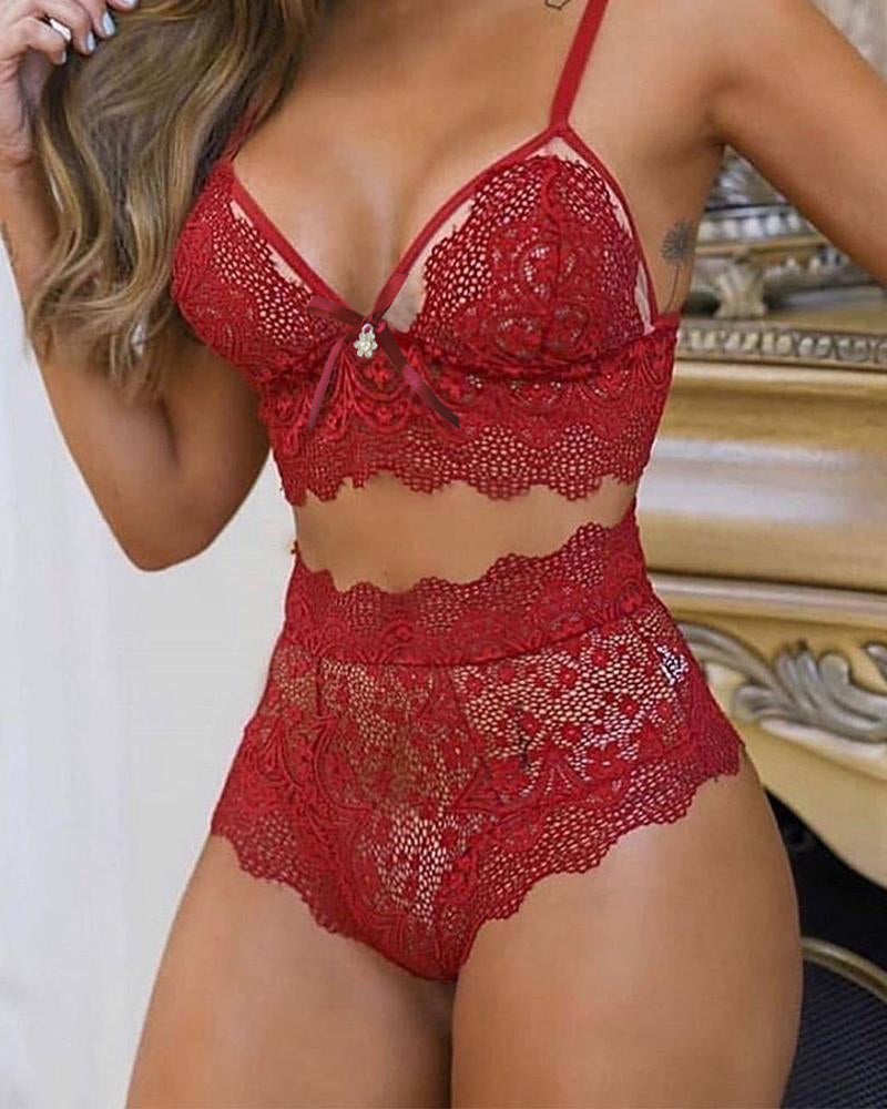 Scallop Trim Lace Lingerie Set