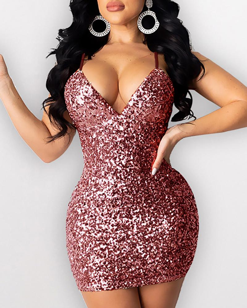 Glitter Spaghetti Strap Backless Sequins Bodycon Dress