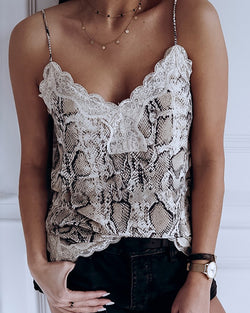 Snakeskin Print Lace Trim Cami Top