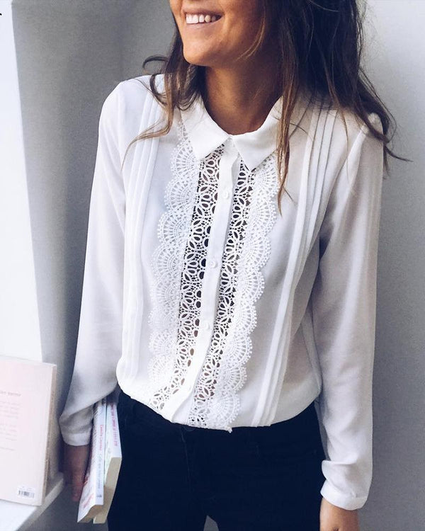 Hollow Out Lace Insert Ruched Shirt