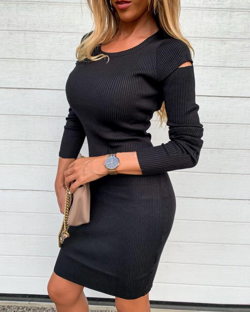 Solid Cut Out Ribbed Knitting Sweater Bodycon Dress