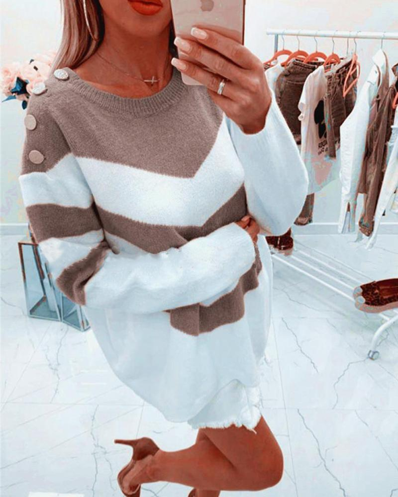 Colorblock Striped Long Sleeve Sweater