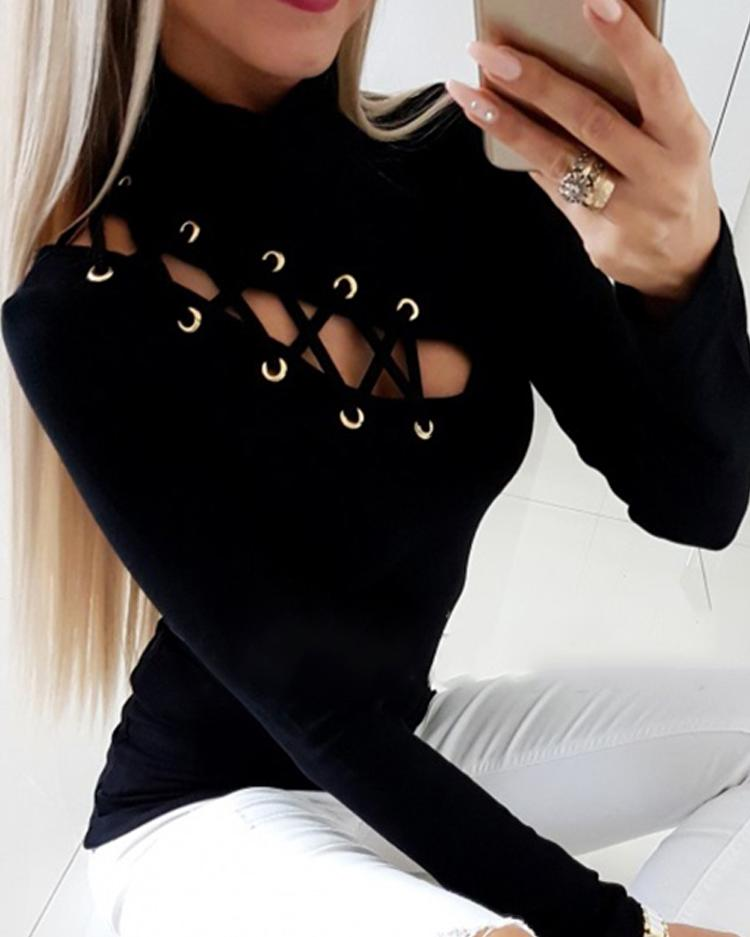 Lace-Up Eyelet Hollow Out T-Shirt