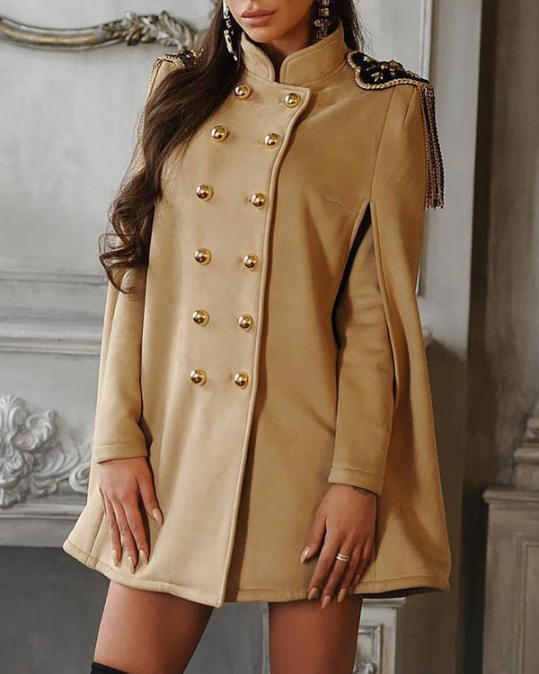 Solid Button Detail Cape Coat