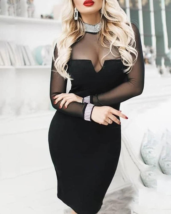 Semi Sheer Patchwork Long Sleeve Party Dress