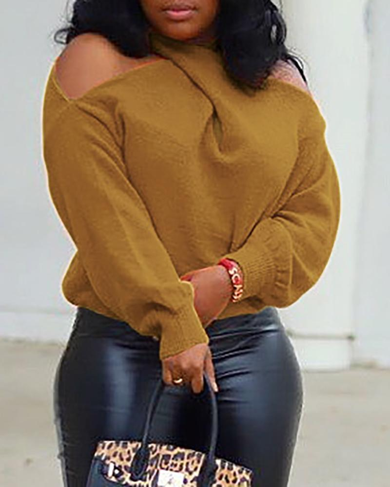 Cold Shoulder Solid Casual Sweater