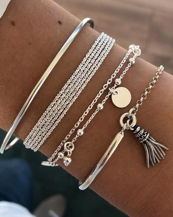 Studded Tassel Layered Bracelets
