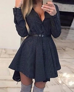 Dots Button Up Pleated Shirt Dress